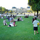 People Relaxing at Luxembourg Garden, Paris, France