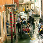 Gondolas in Narrow Canal, Venice, Italy