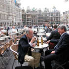 Outdoor Cafe Drinkers, Grand Place, Brussels, Belgium