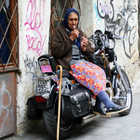 Old Woman on Motorcycle, Exarchia, Athens, Greece