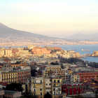 Naples Harbor and Mt. Vesuvius, Italy