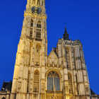 Cathedral of Our Lady Exterior at Night, Antwerp, Belgium
