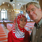Rick and Woman in Blue Mosque, Istanbul, Turkey