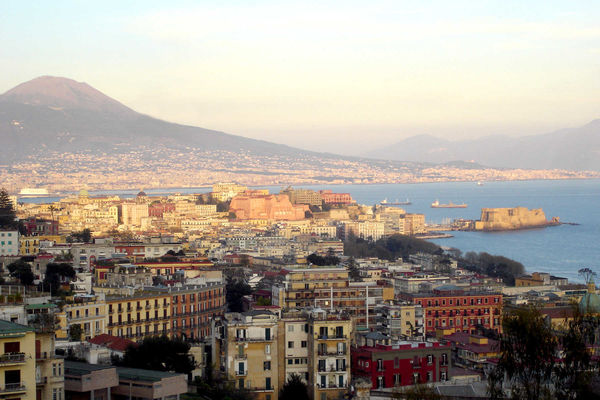 Naples Harbor and Mt. Vesuvius, Italy